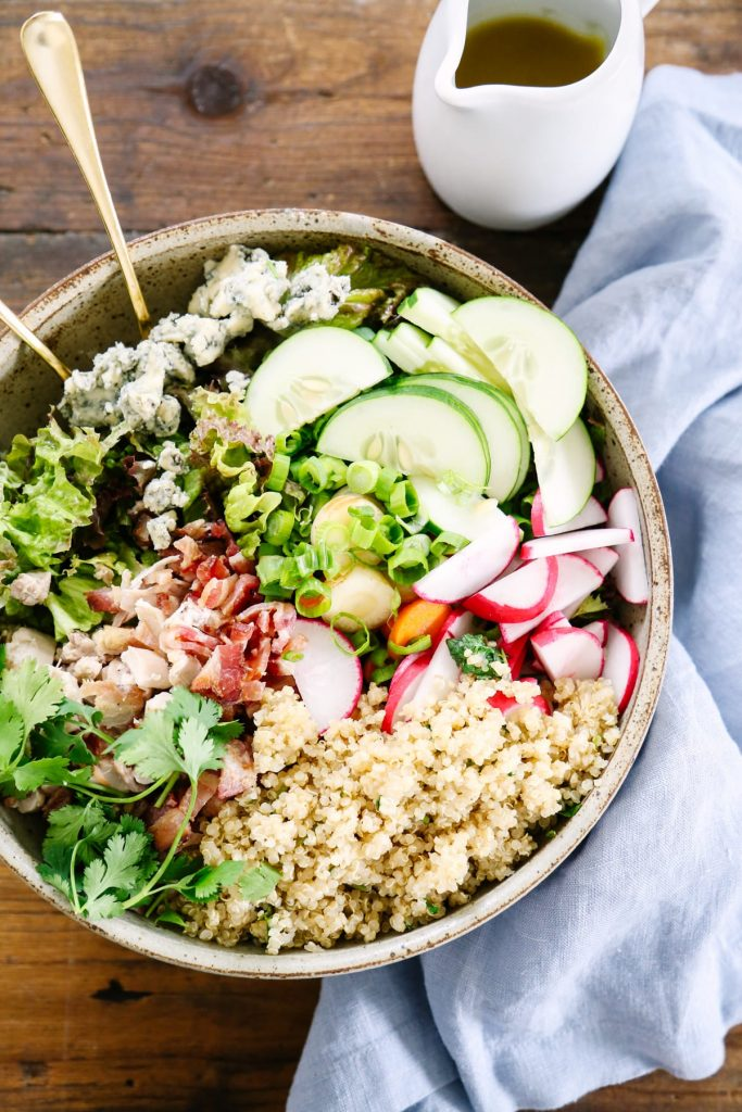 Love this salad! This salad literally takes just minutes to toss together, and everything is made in your kitchen (even the salad dressing!). Such a great weeknight meal the whole family loves.