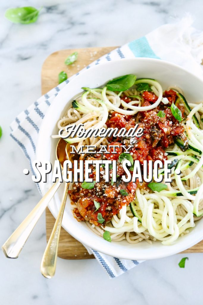 A regular meal on our meal rotation. So delicious and everyone loves this! Love the addition of zucchini noodles. Meat and meat-free option, too!