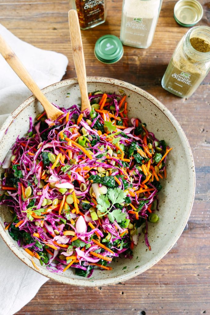 We like to make this vinaigrette kale slaw as an easy side dish to go with just about any weeknight dinner! It's seriously so good!