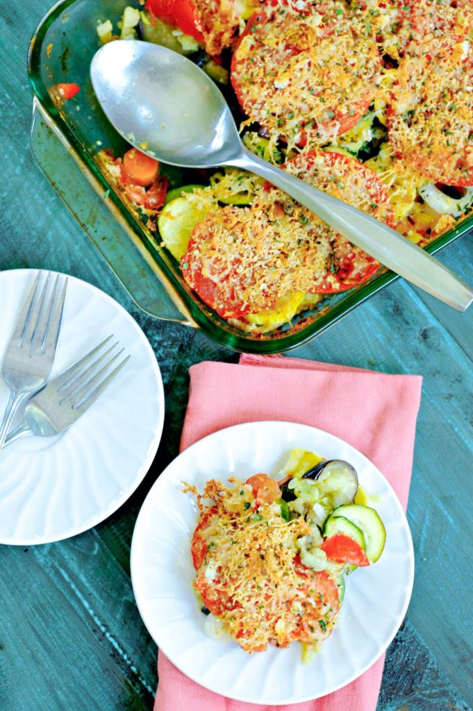 This summer vegetable casserole is a perfect easy dinner after a trip to the farmers market or to your backyard garden! Kids will love being involved in making, and eating, it.