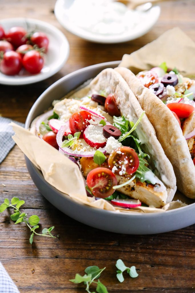 Marinated Chicken Gyros - Love this quick and easy weeknight meal: healthy chicken gryos.