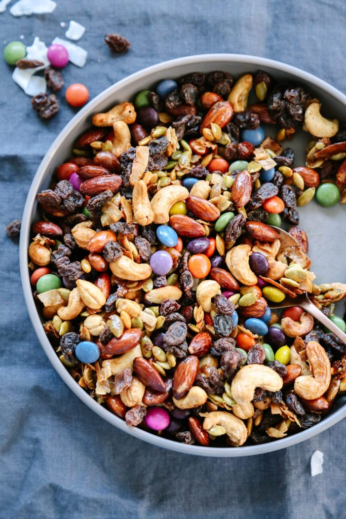 Yum! This sweet and salty DIY trail mix is so delicious, and it's made with real food ingredients. Love!