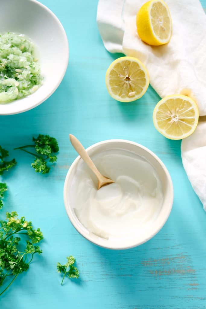 Homemade tzatziki sauce - so easy! Just a few ingredients that I already have in my fridge.