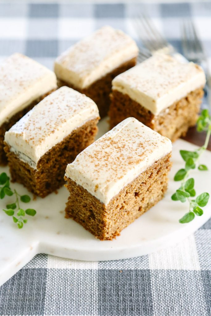 Sooo good! And no refined sugar, not even in the frosting. A whole grain pumpkin cake.