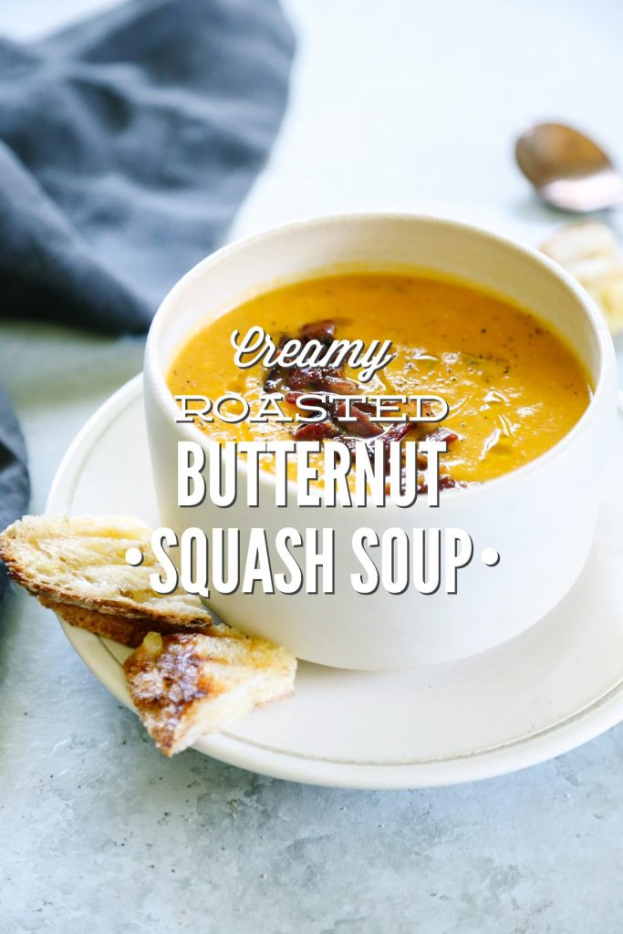 So good! This creamy roasted butternut squash soup is my absolute favorite fall soup, and it's so easy to make. Just roast and blend. No dairy!