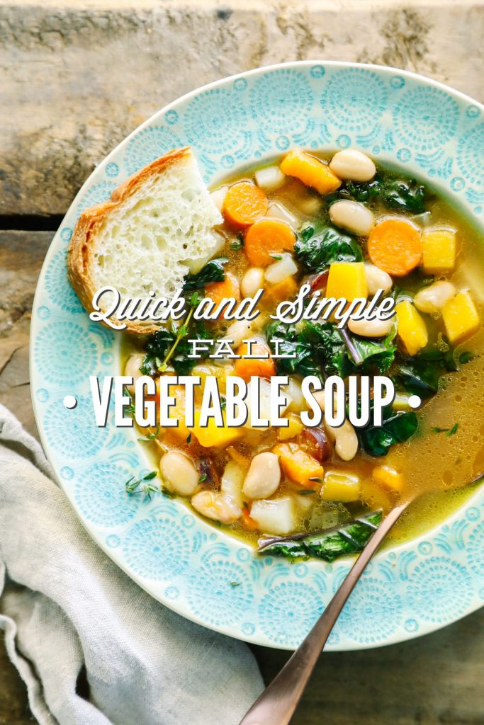A quick and simple fall vegetable soup that's packed full of nourishing ingredients. This vegetarian soup is perfect for even the meat-eaters in the family.