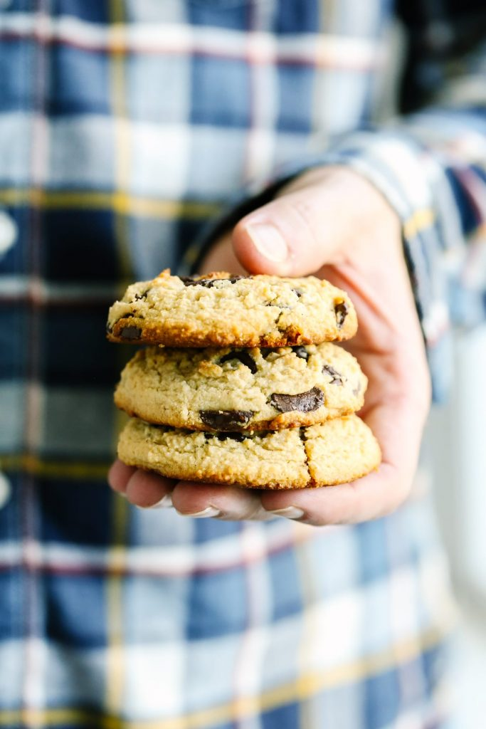 So easy, so good. No softening butter, or using refined sugar. Just 1/3 cup of honey in this chocolate chip cookie recipe. Naturally gluten-free.