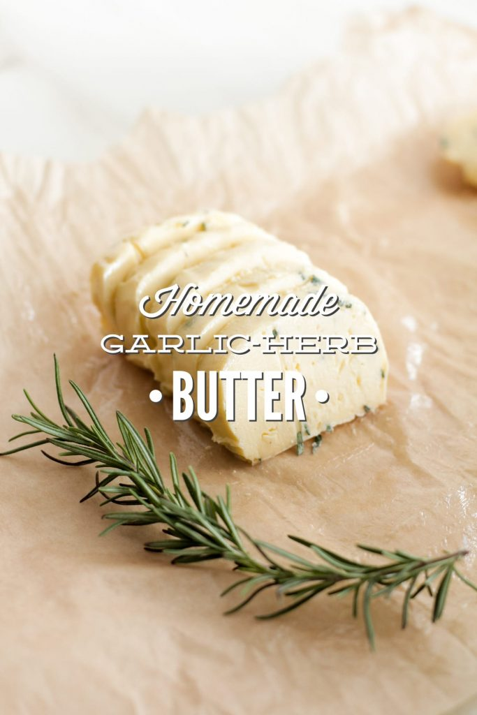 So good! This easy garlic-herb butter is great on bread, steak, chicken, or in baking recipes. Freezer-friendly, too.