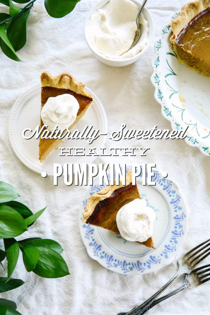 A naturally-sweetened (maple syrup) pumpkin pie that's made without any condensed or evaporated milk. So easy and good.