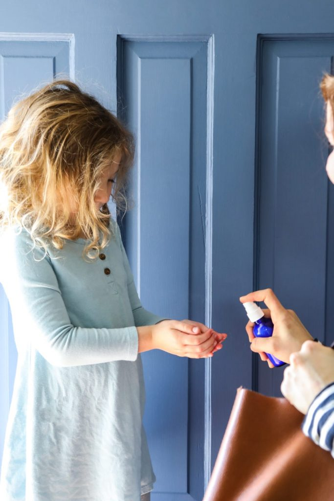 A simple hand sanitizer spray that uses kid-safe essential oils, witch hazel, and glycerin (a moisturizing ingredient found at most drug stores).