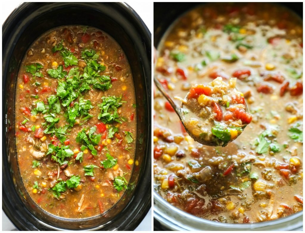 Slow Cooker Chicken and Quinoa Taco Soup. A real food (but no fancy ingredients) fix-it-and-forget-it soup. My family loves this meal.