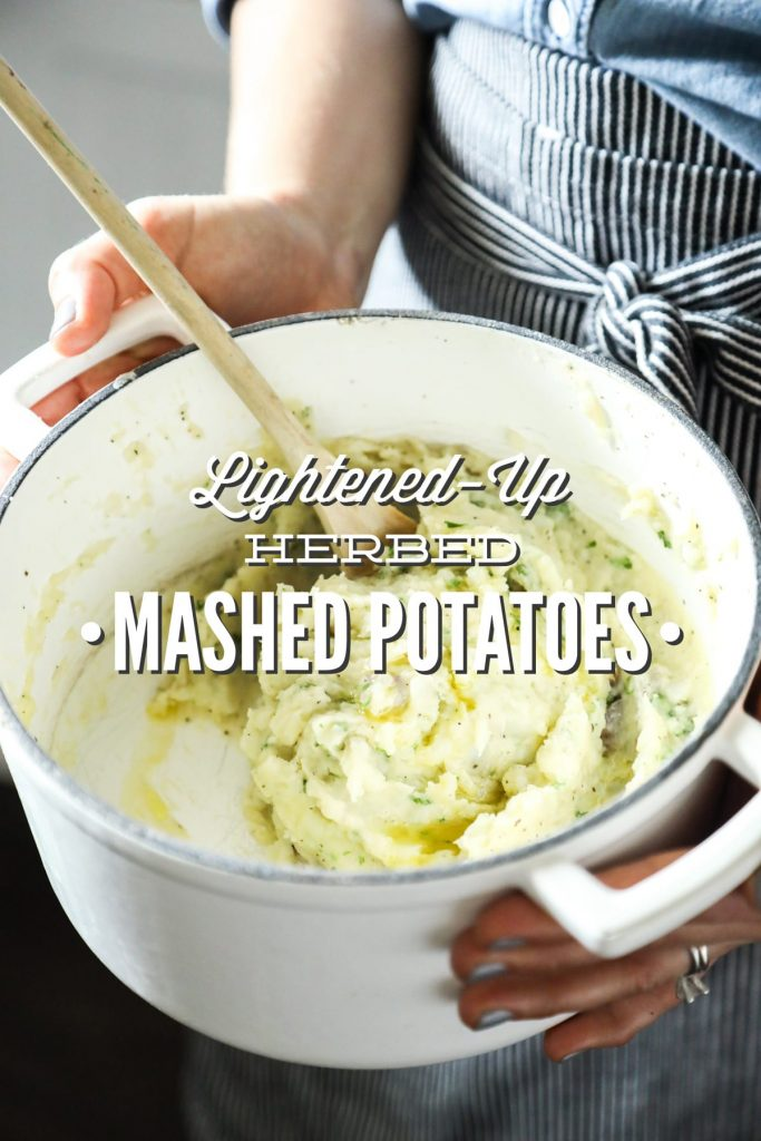 Lightened-Up mashed potatoes with herbs! So easy (no mixer required)--just add butter and olive oil, and mix. From-scratch mashed potatoes.