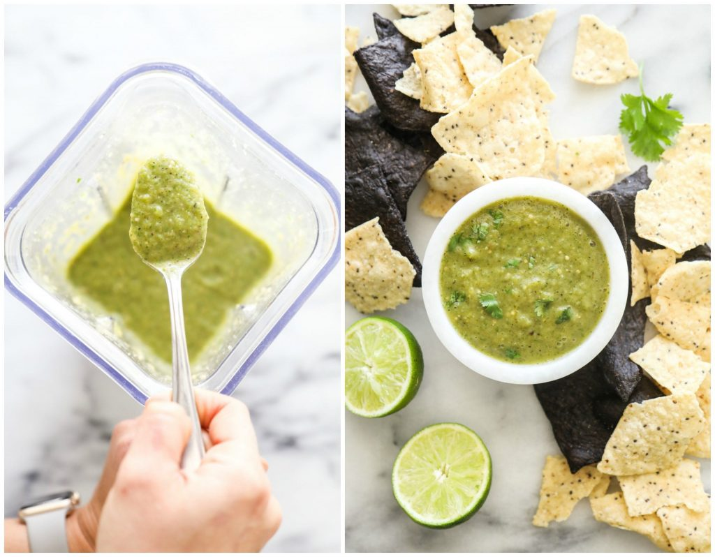 A simple roast and blend salsa! Healthy, real food ingredients, and super easy. Add to taco salad, serve with a quesadilla, or pour over enchiladas.