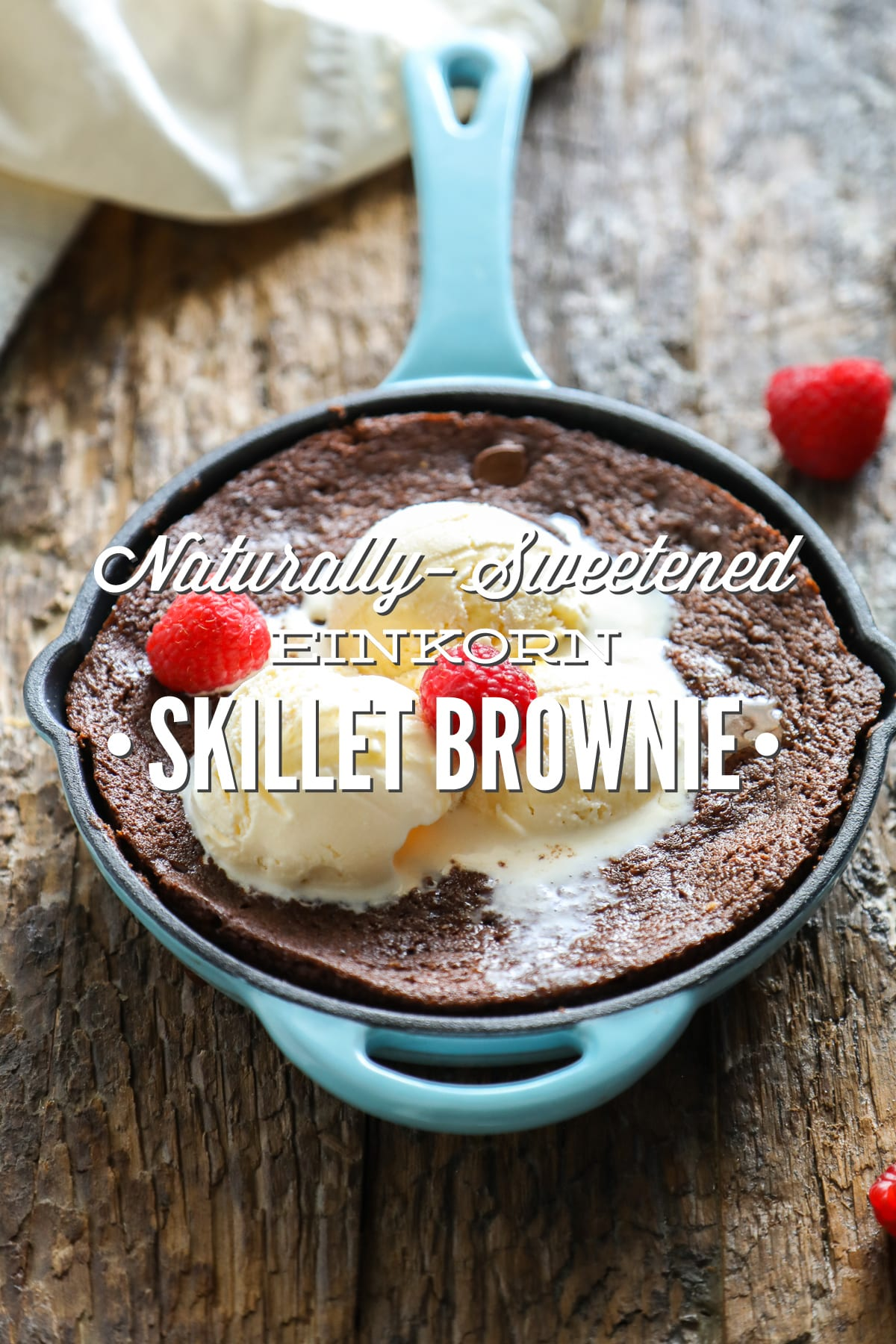 Naturally-Sweetened Einkorn Skillet Brownie