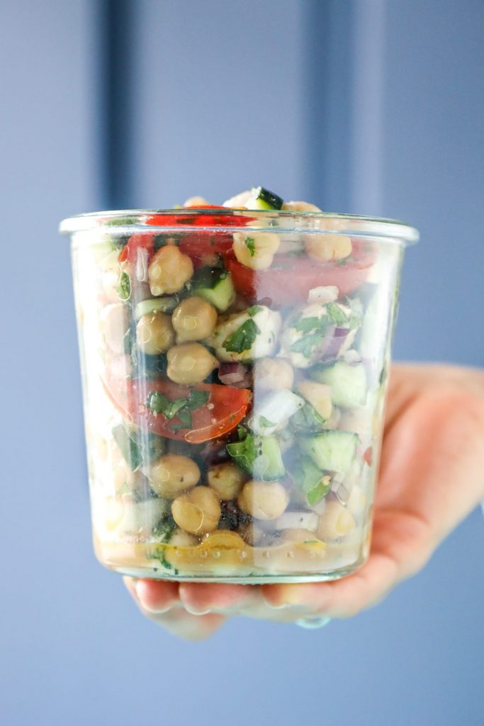A no-cook chickpea salad recipe that only calls for a few simple ingredients. This salad is a perfect make-ahead lunch or dinner option.