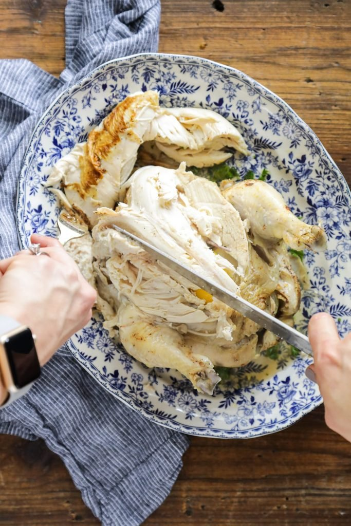 How to effortlessly cook a whole chicken in the Instant Pot. This method results in flavorful, fall-of-the-bone chicken in under an hour.