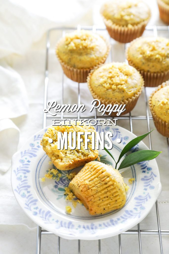 Light and naturally-sweetened lemon poppy seed muffins made with healthy einkorn flour.