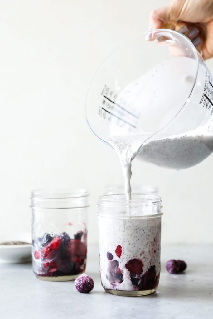 A quick, simple, and naturally-sweetened chia pudding with berries on the bottom. Prep this in advance and store it in the fridge for a quick breakfast, snack, or dessert.