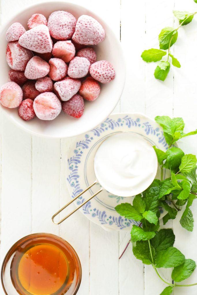 Incredible! Homemade froyo with only five basic, real food ingredients: yogurt, fruit, vanilla extract, honey, and mint (optional, if you don't have any). naturally-sweetened. real food.