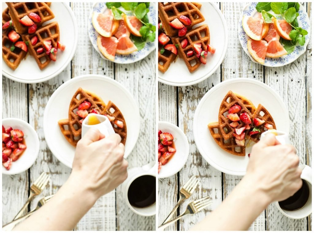 Delicious, simple, and naturally gluten-free. These waffles are made with almond flour, arrowroot, and basic fridge staples to create crispy and fluffy waffles.