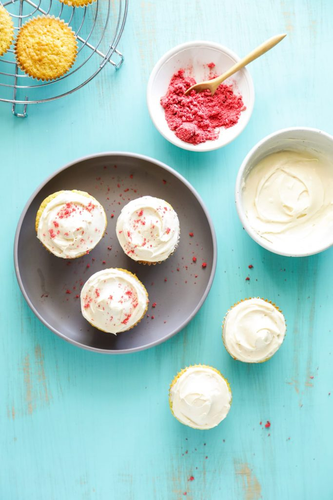 Homemade einkorn flour cupcakes! So good, so easy! With homemade frosting.
