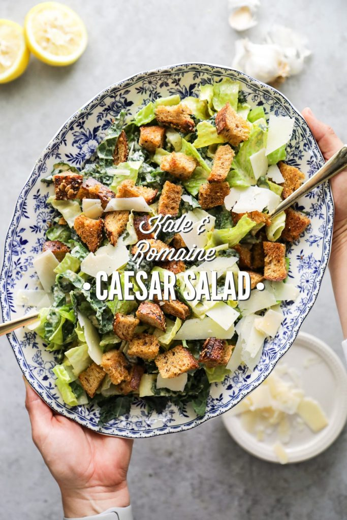Kale and Romaine Caesar Salad with Homemade Dressing and Croutons