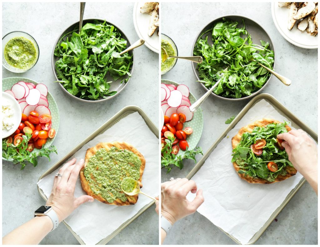 An easy and light summer meal featuring grilled pizza dough, homemade pesto, and fresh toppings.