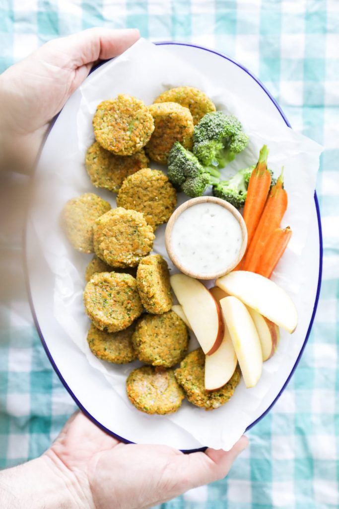 These nuggets are made entirely out of veggies (along with some cheese, breadcrumbs, and an egg), making them a fun way for kids (and adults) to enjoy vegetables and a nugget at the same.