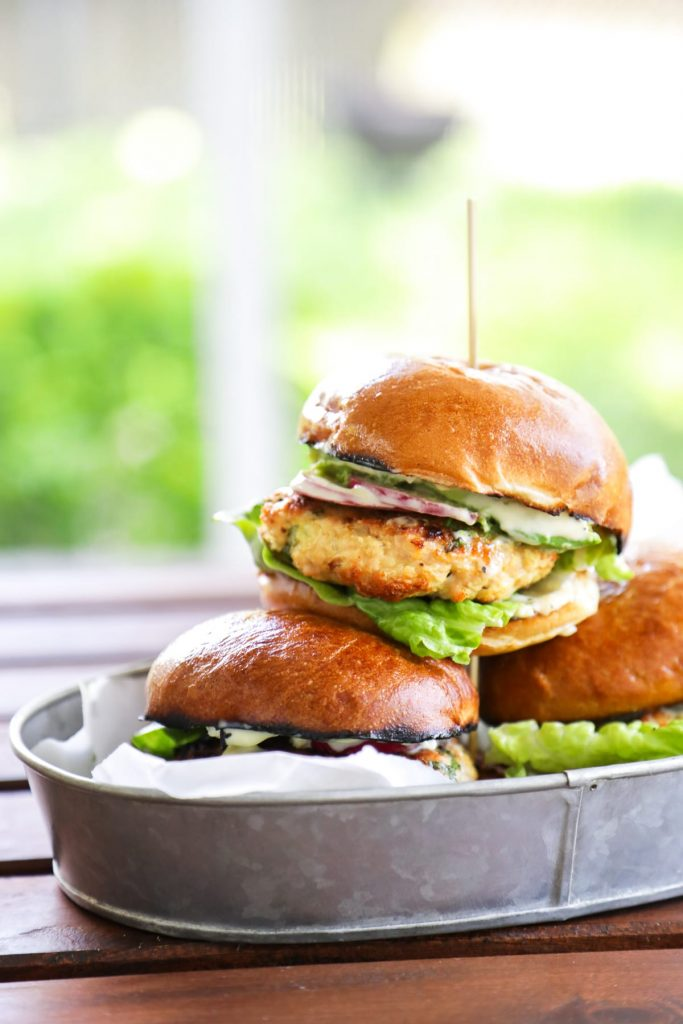 Chicken and Herb Burgers with Garlic Aioli. So easy, 100% homemade.