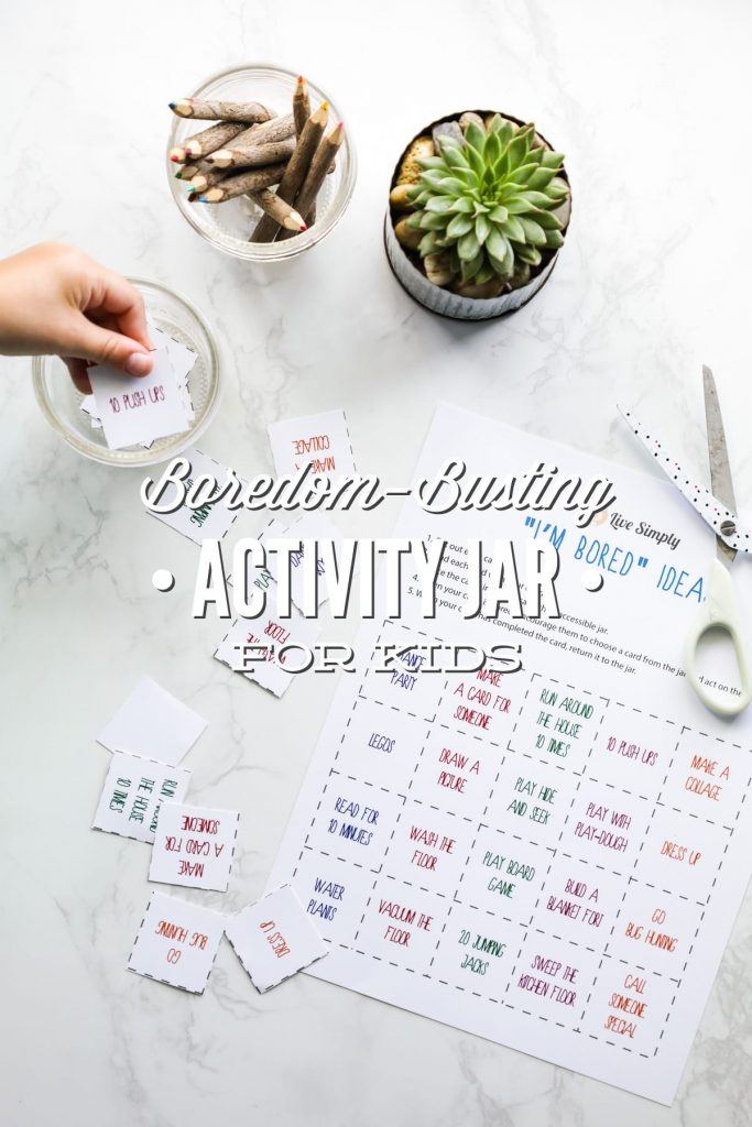 A special jar featuring 20 printable, boredom-busting activity cards to help provide kids with ideas for what do when they're feeling bored.