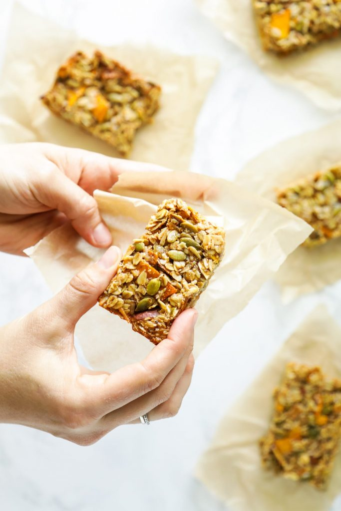 Chewy homemade granola bars with a tropical twist. Made with mango, coconut, natural sweetener, and almond butter.