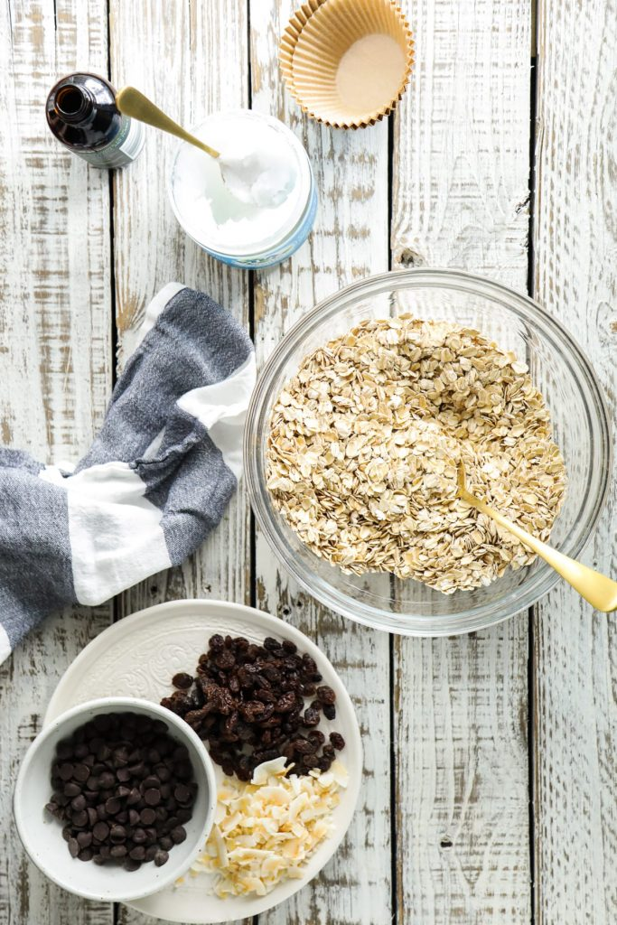 mixing oats with other mix ins to make oatmeal cups