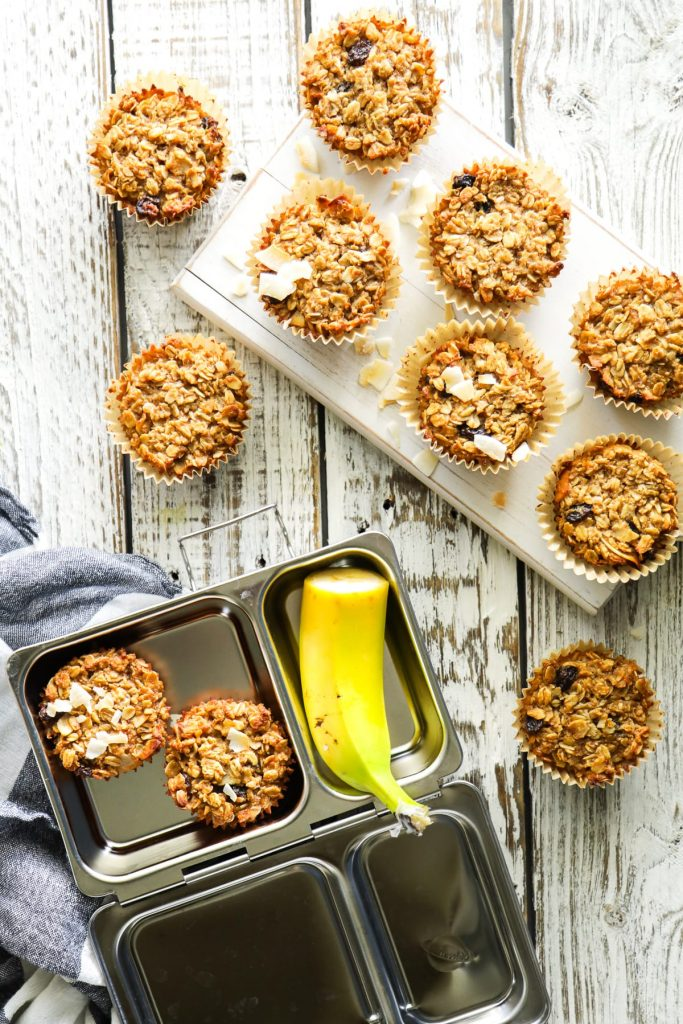 baked oatmeal cups cooling
