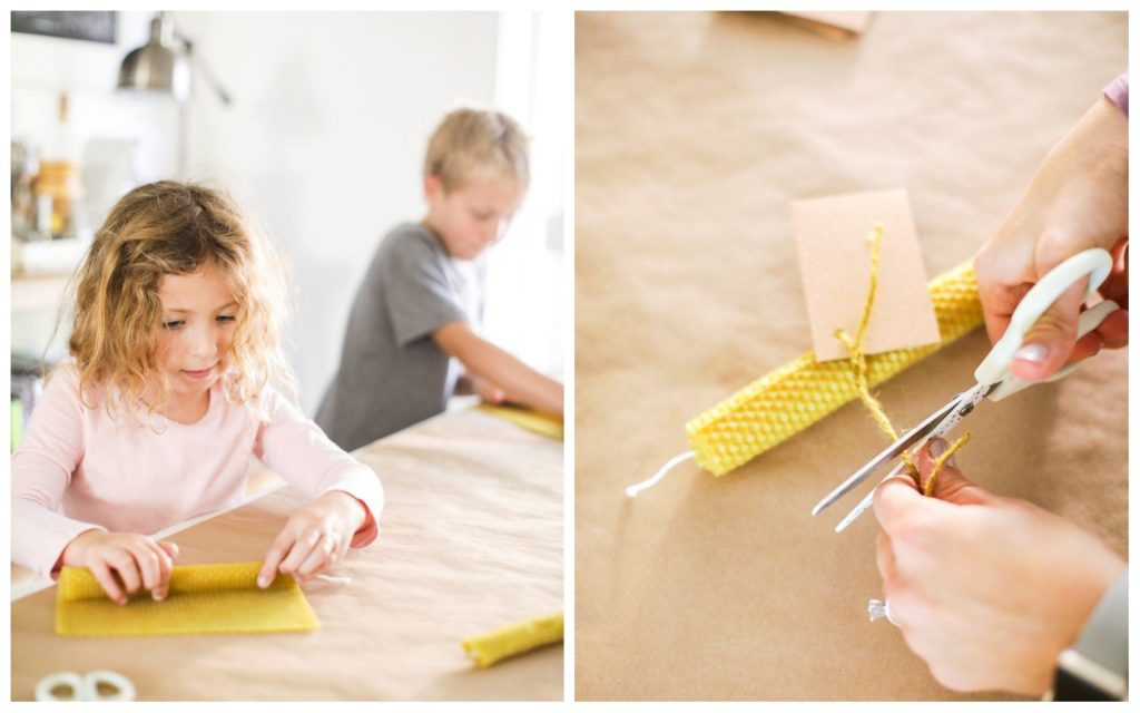The easiest way to make beeswax taper candles. Great project for kids, too!