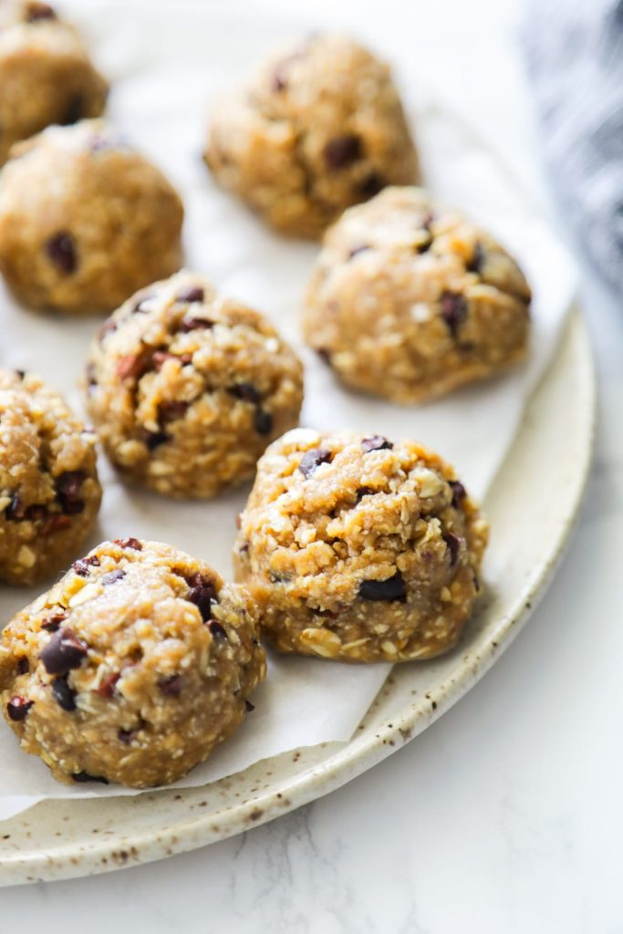 No Bake Chocolate Chip Cookie Dough Bites. Unbelievably good! Made with simple real food ingredients. No eggs, dairy, or gluten (use gluten-free oats).