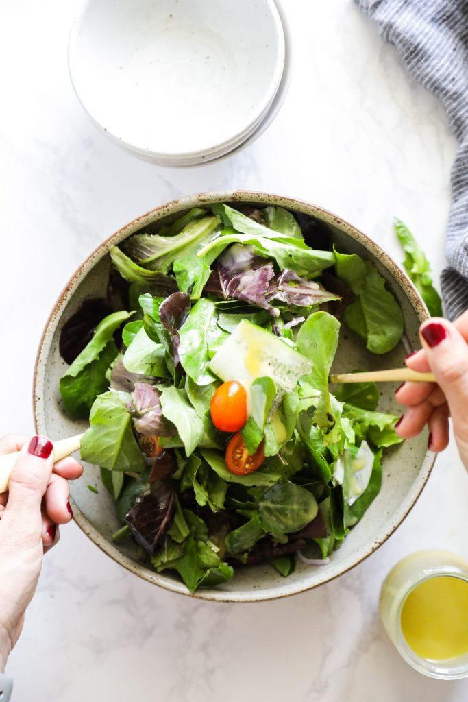 A simple, easy-to-make tahini vinaigrette salad dressing.