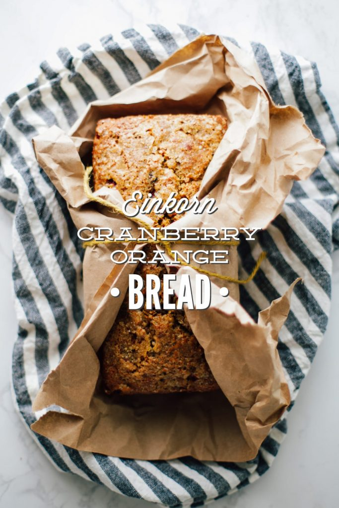 A traditional cranberry-orange bread made with einkorn flour.