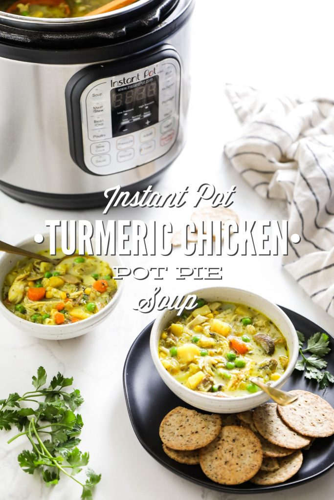 Inspired by the classic chicken pot pie, this soup is made with hearty veggies and shredded chicken. All the ingredients are cooked together in the Instant Pot for a quick and easy meal.