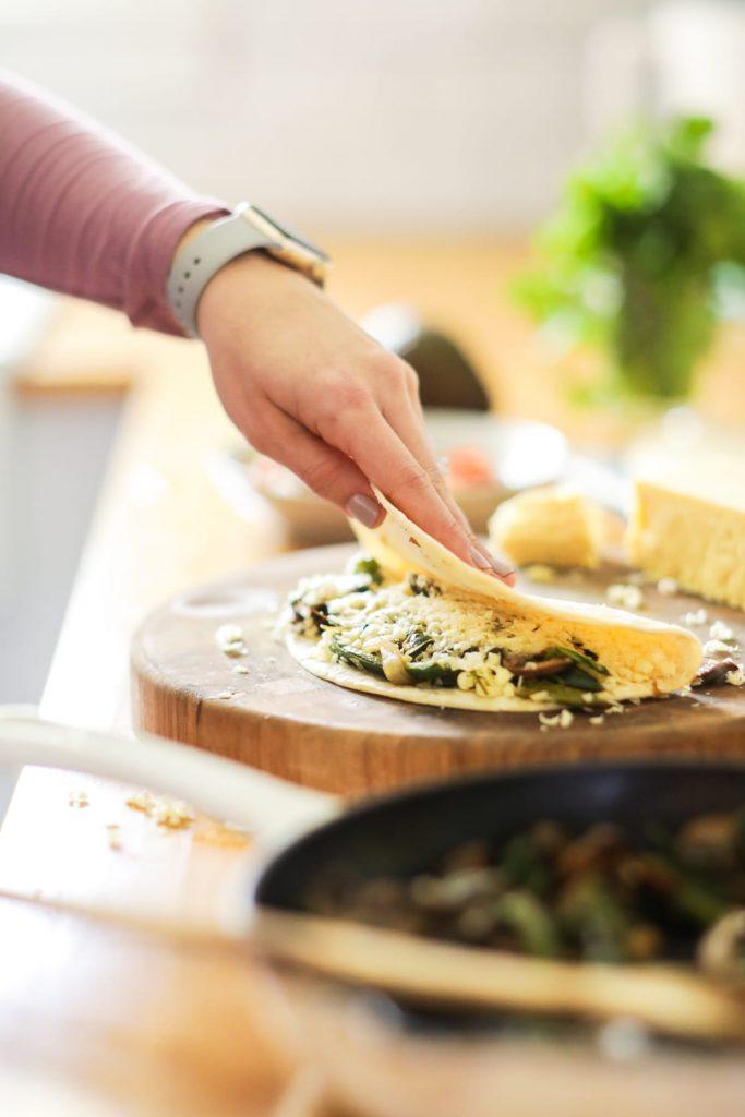 Fajita-style, vegetarian quesadillas. So easy, so quick, so good!