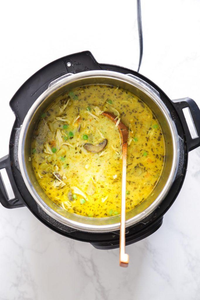 Instant Pot Turmeric Chicken Pot Pie Soup (Pressure Cooker
