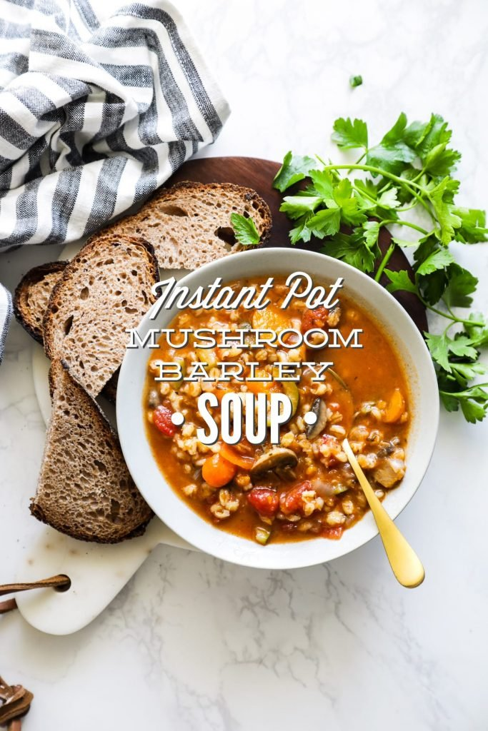 Instant Pot Mushroom Barley Soup. SO good! So easy. Takes less than 30 minutes total to make.