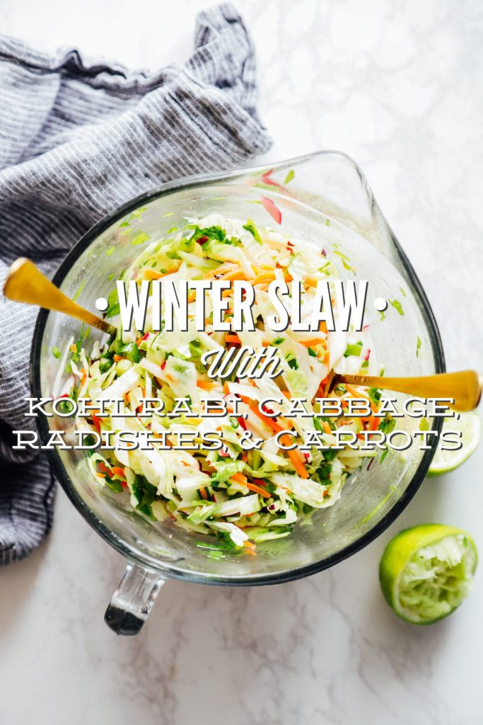 This winter slaw made with kohlrabi, cabbage, radishes, and carrots is an easy and flavorful winter side dish perfect for tacos and sandwiches!