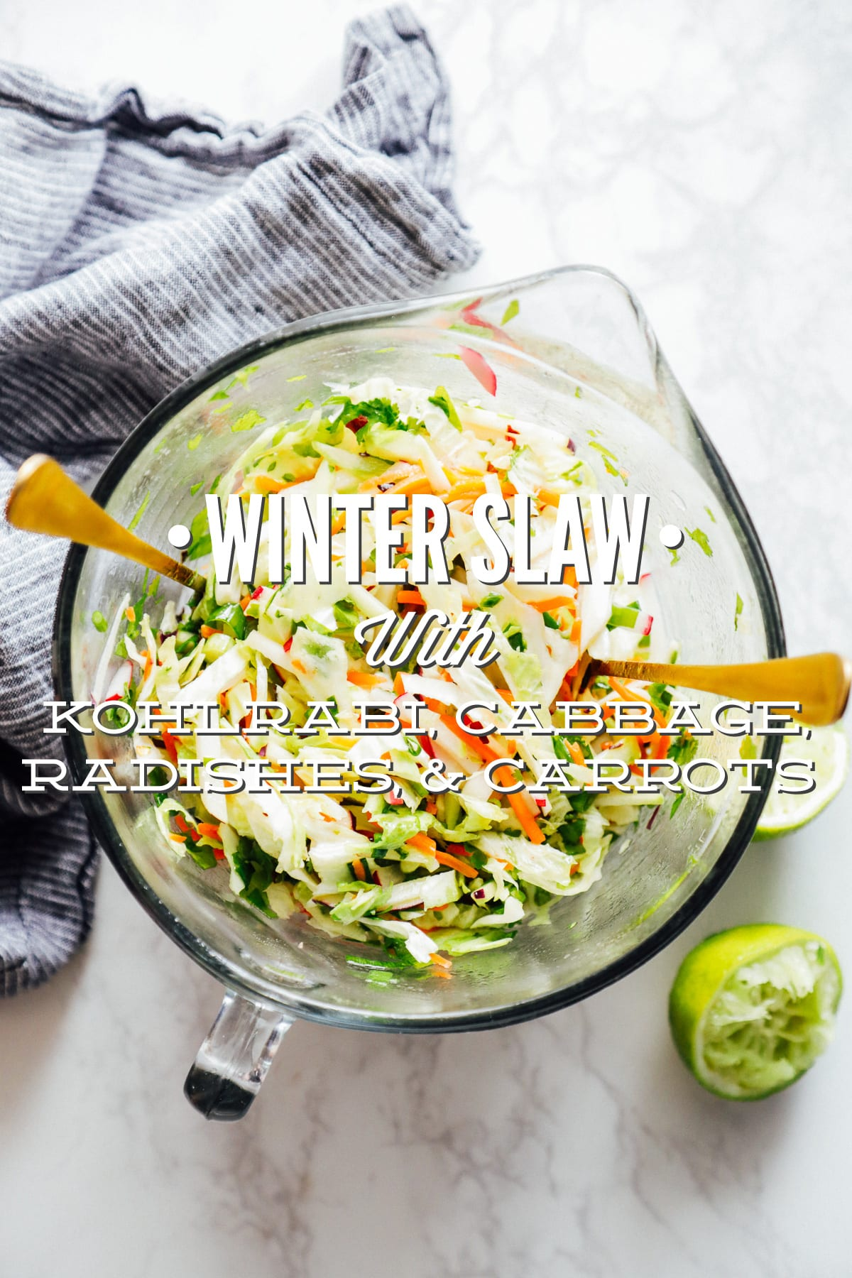 Winter Slaw With Kohlrabi Cabbage Radishes And Carrots For Tacos Sandwiches Or A Side Salad Live Simply