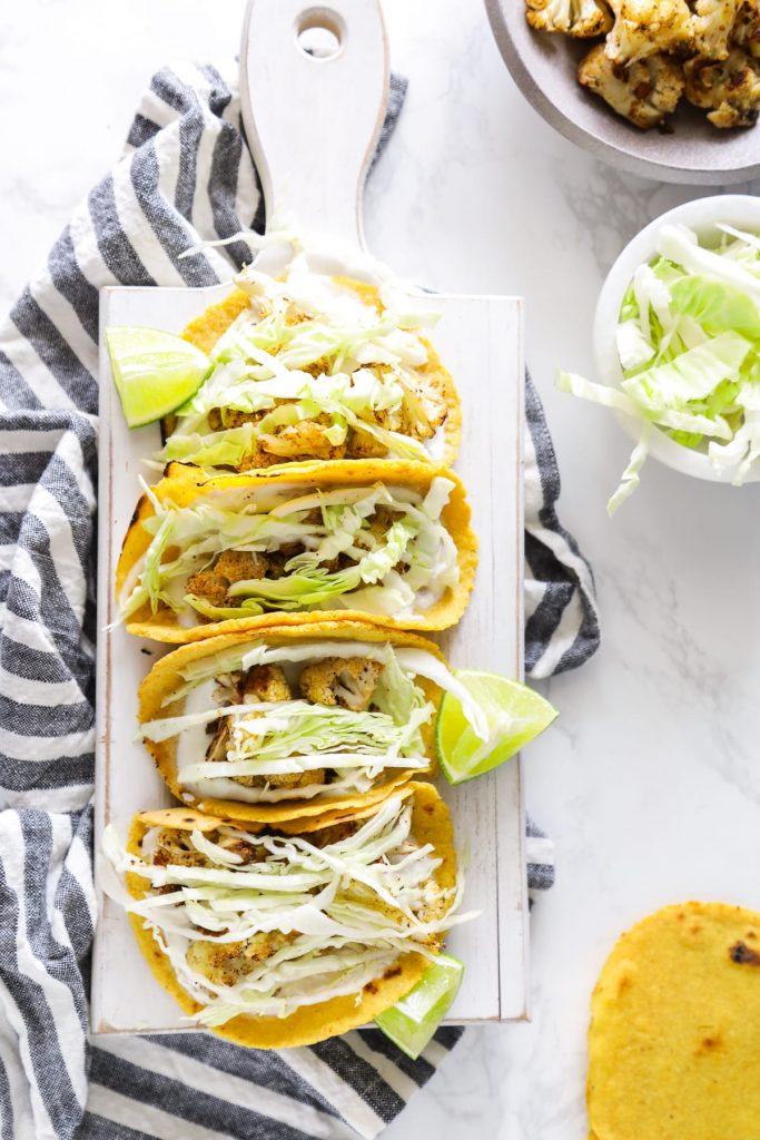 Sheet Pan Cauliflower Tacos. So easy, so good! Veggie-based tacos all on one pan!