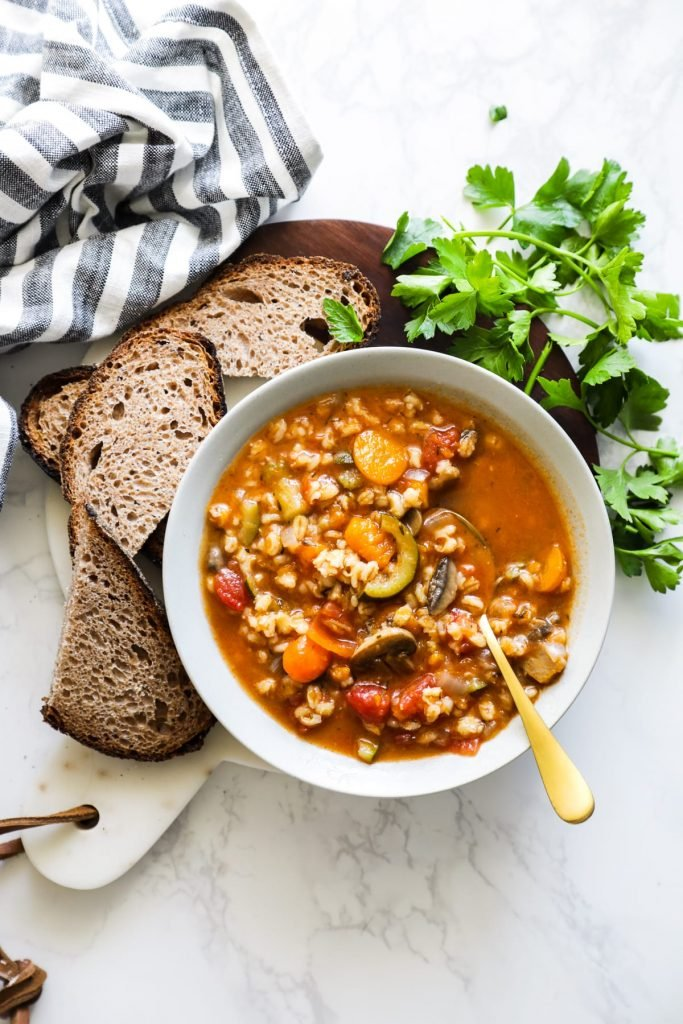 Instant Pot Vegetable Barely Soup. SO good! So easy. Takes less than 30 minutes total to make.