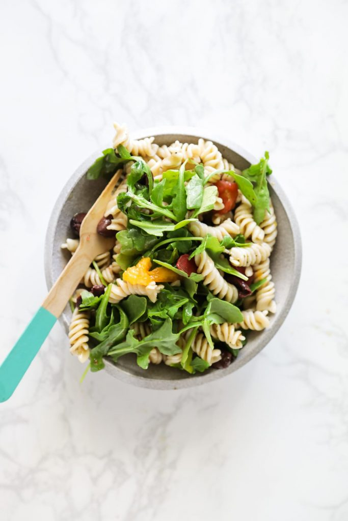 This veggie-dense chicken pasta salad is easy to make ahead for real-food meals on the go.