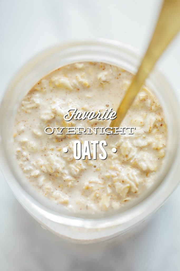 My favorite (make-ahead) overnight oatmeal. The recipe makes enough for 2-3 breakfasts, and will keep in the fridge for 2-3 days.