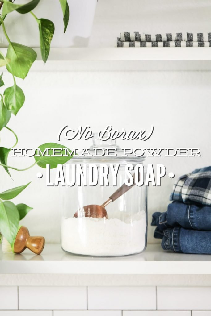 Homemade laundry soap made with natural ingredients. This easy-to-make laundry soap can be used just like a powder store-bought soap.
