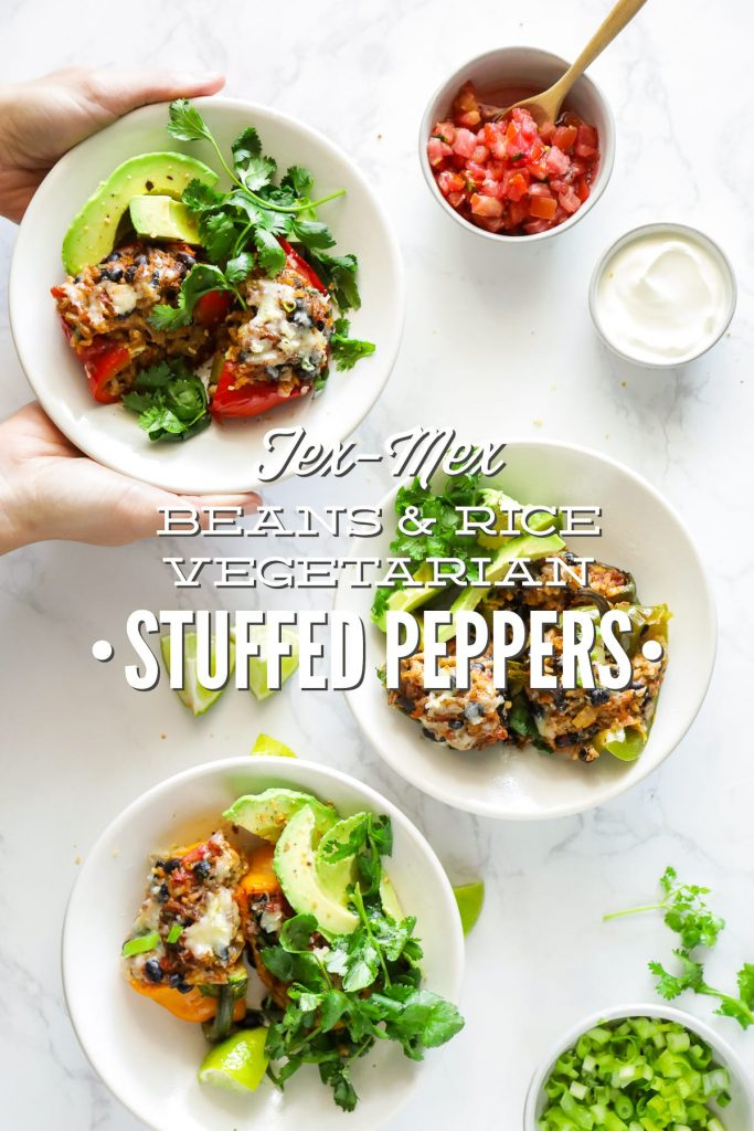 Hearty, vegetarian-stuffed peppers with a Tex-Mex-style filling of beans, rice, salsa, and taco seasonings. Make this meal for dinner, or prep the peppers in advance for a real-food lunch.