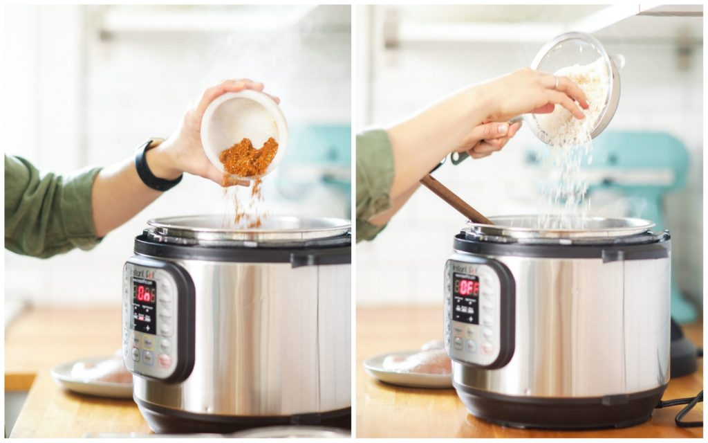 This Instant Pot chicken and rice recipe is as easy as a dinner recipe can get. It's truly a one-pot, dump the ingredients and forget about it kind of meal.